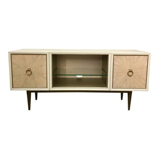 Modern Caracole White and Beige Media Console Table For Sale