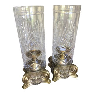 Castilian Imports Brass Swag Cut Crystal Hurricane Pillar Candle Holders - a Pair For Sale