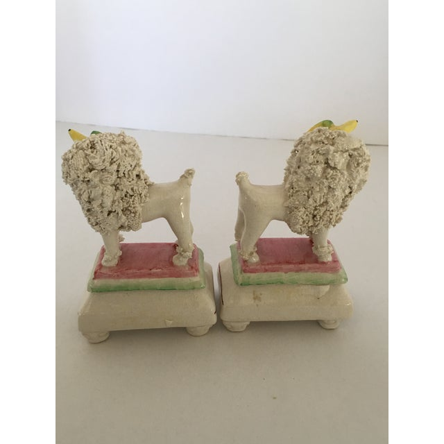 Ceramic Antique Staffordshire Poodle Dog Figurines - A Pair For Sale - Image 7 of 11