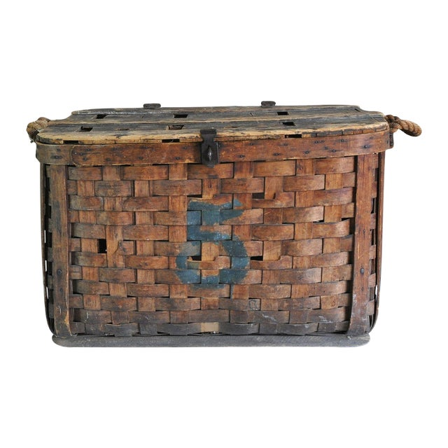 Large Rustic Antique Shipping Basket Trunk - Image 1 of 8