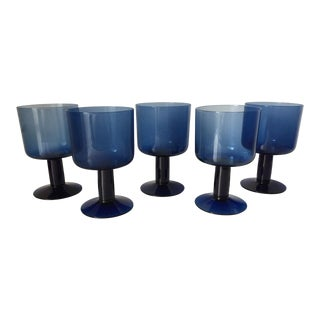 Mid-Century Cobalt Wine Glasses-Set 5 For Sale