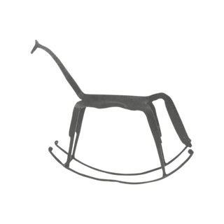 20th Century Farmhouse Industrial Iron Rocking Horse For Sale