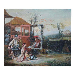 "Vintage 18th Century François Bouche Rococo Style Reproduced Painting on Canvas ""Chinese Bird Painting"" For Sale"