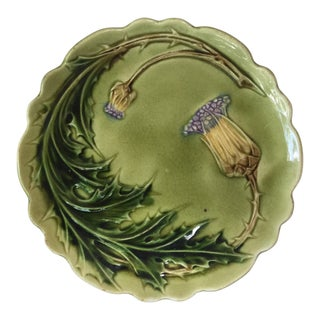 French Majolica Thistle Plate Circa 1880 For Sale