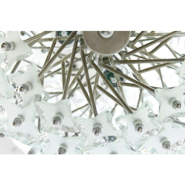 """Glass and Metal """"Snowball"""" Chandelier, Italy, 1960s For Sale - Image 4 of 8"""