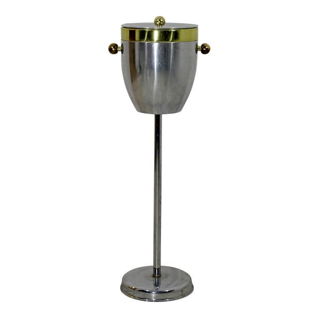 Art Deco Aluminum and Brass Standing Champagne Ice Cooler For Sale