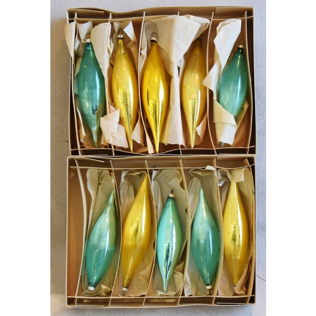 Adirondack Teal & Gold Christmas Icicle Tree Ornaments W/Boxes - Set of 10 For Sale - Image 3 of 7