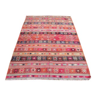 "Vintage Turkish Anatolian Striped Pink Wool Rug - 4′5″ × 7′5"" For Sale"