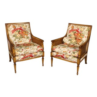 1950s French Louis XVI Style Custom Upholstered Embroidered Cane Armchairs - a Pair For Sale