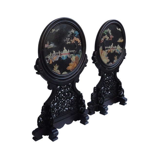 Oriental Tabletop Display Plaques- A Pair For Sale - Image 9 of 9