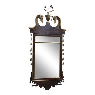 Hepplewhite Style Looking Glass Mirror With Inlay For Sale