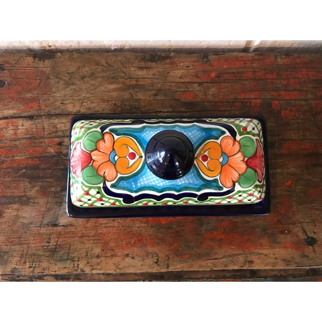 Boho Chic Talavera Mexican Pottery Covered Butter Dish For Sale - Image 3 of 6