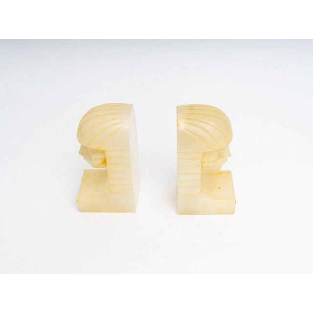 Egyptian Revival Art Deco Alabaster Bookends - a Pair For Sale In West Palm - Image 6 of 11
