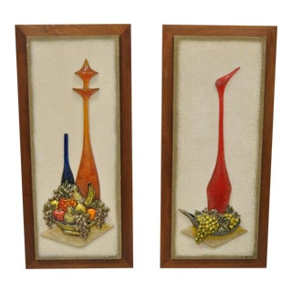 Vintage Z. Danjell Mid-Century Modern Wall Art Plaques - A Pair For Sale
