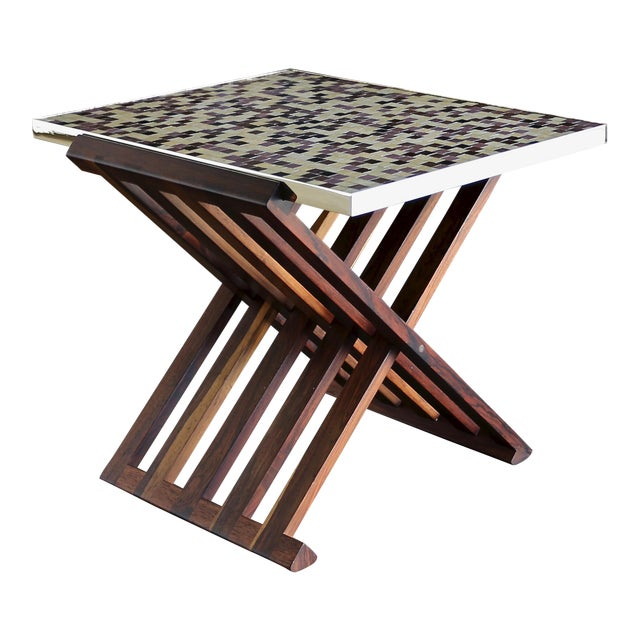 Edward Wormley X-Base Rosewood and Murano Tile-Top Table For Sale