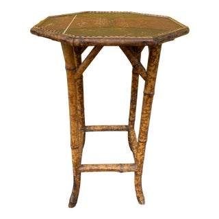 Antique English Burnt Bamboo Octagonal Side Table For Sale