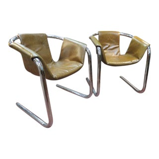Vintage Mid Century Modern Chrome Sling Lounge Chairs- A Pair For Sale