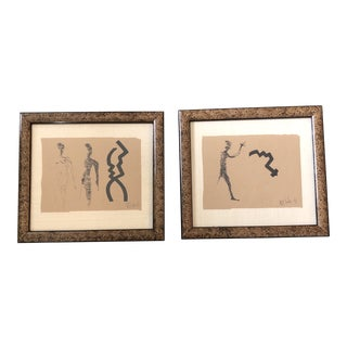 Original Vintage Robert Cooke Abstract Nude Ink Drawings a Pair For Sale