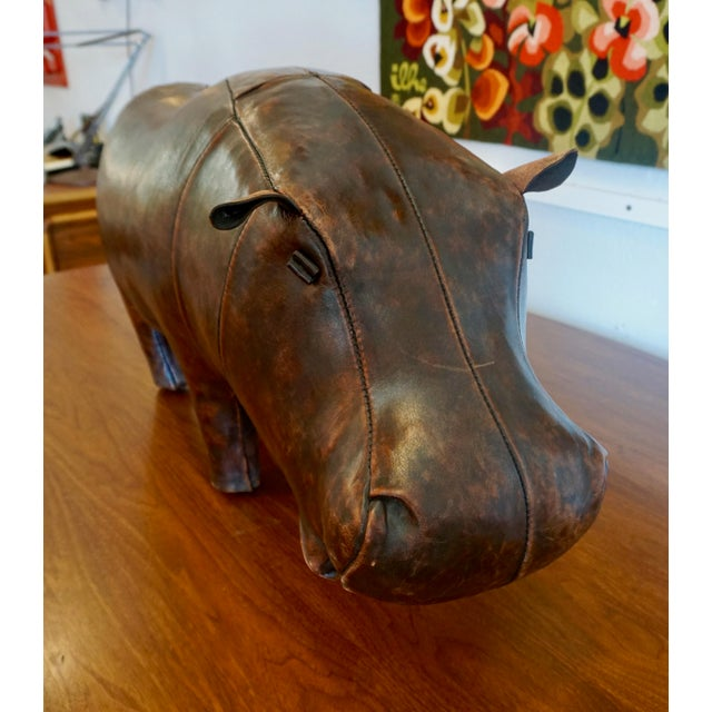 Dimitri Omersa 1970s Vintage Omersa for Abercrombie + Fitch Leather Hippo Ottoman For Sale - Image 4 of 9