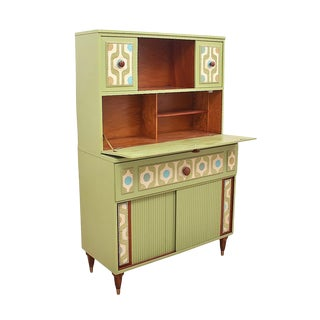 1960s Mid Century Modern Geometric Green Secretary Desk For Sale