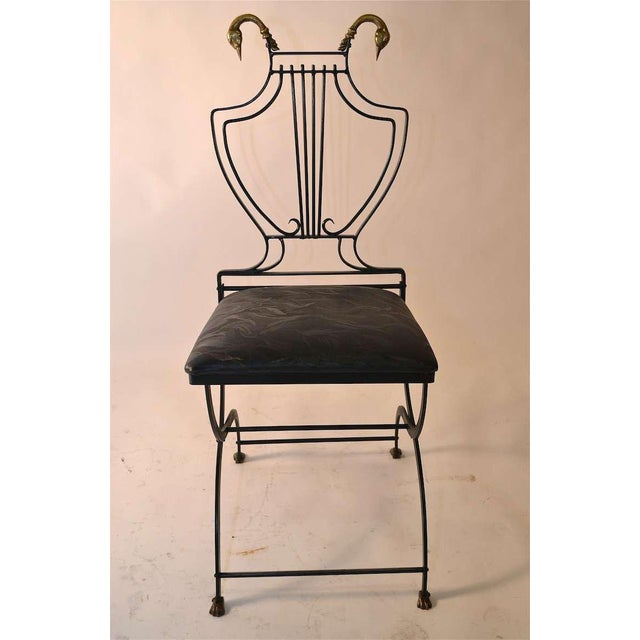 Set of Eight Italian Regency Lyre Back Classical Form Dining Chairs For Sale - Image 4 of 5