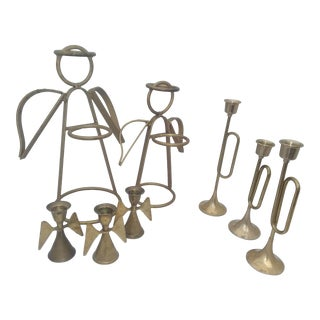 Vintage Brutalist Angels & Horns Brass Candle Holders - 8 Piece Set For Sale