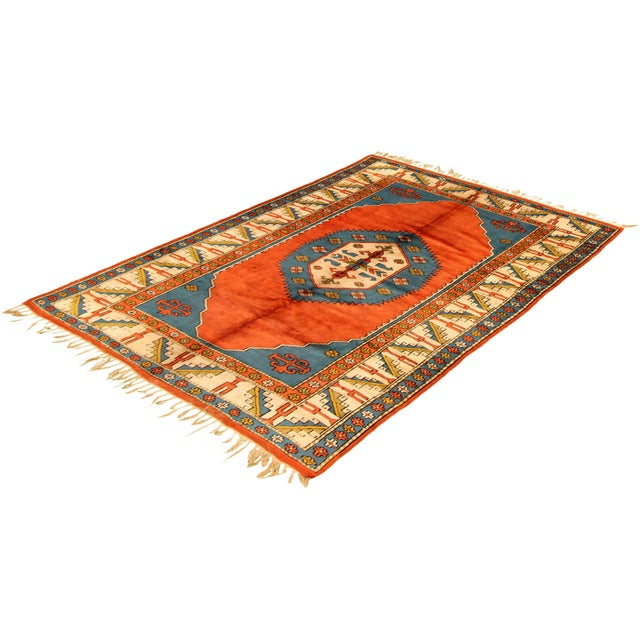 Boho Chic Hand-Knotted Turkish Rug For Sale - Image 3 of 9