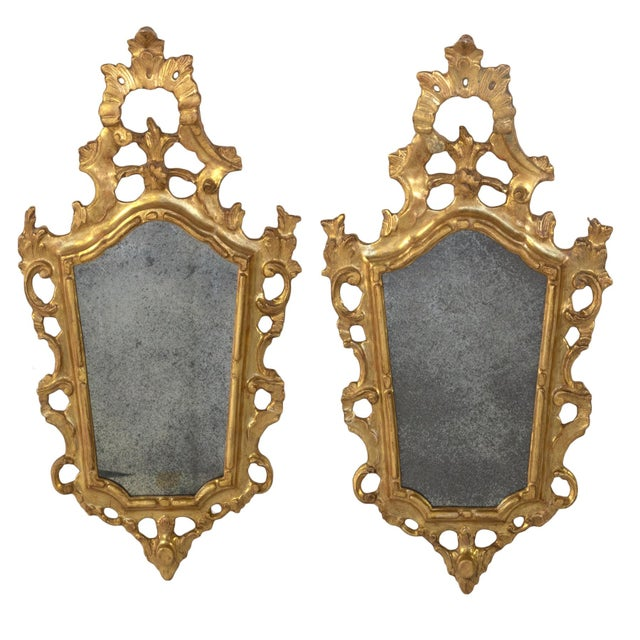 Wood Pair of Small-Scale Carved French Rococo Style Mirrors; France, Circa 1890 For Sale - Image 7 of 7