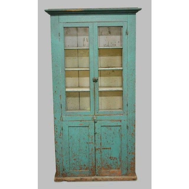 Antique Painted Two Door Country Cupboard For Sale - Image 4 of 4
