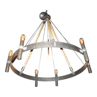 Contemporary Custom Rope Chandelier Wagon Wheel For Sale