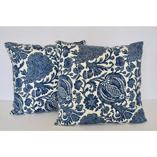 French Country Blue Pomegranate And Grape Block Print Pillows A