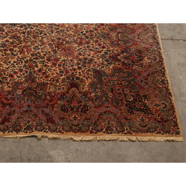 "Unusually large (11'x5""w x 20'l) Persian-style Kirman or Kerman rug. This American machine-made rug is a 20th century..."