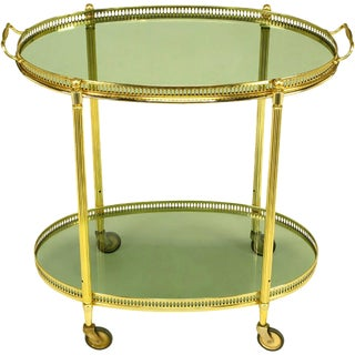 Pierced and Reeded Brass Two-Tier Oval Tray-Top Bar Cart For Sale
