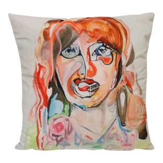 "Contemporary Handmade Velvet Pillow by Artist ""Ryan Ostrowski"" titled ""Molly"" For Sale"
