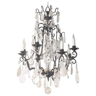 French Rock Crystal Eight Light Chandelier With Iron Frame, Late 19th Century For Sale
