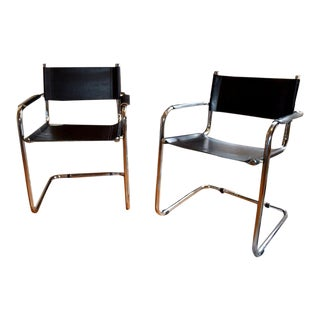 1960s Mid Century Modern Italian Chrome and Leather Chairs - a Pair