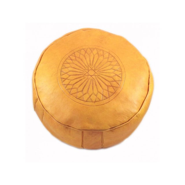 Modern Yellow Leather Moroccan Pouf Ottoman For Sale - Image 4 of 4