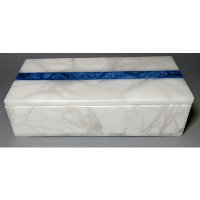 Hermes Inspired Alabaster Box With Navy Blue Stripe For Sale - Image 10 of 13