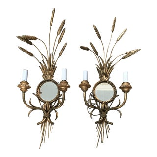 Early 1900's French Wall Bone & Gilded Newly Wired Sconces - a Pair