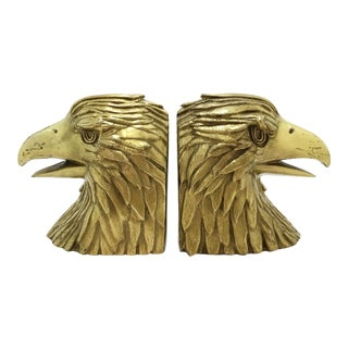 Vintage Brass Eagle Bookends - A Pair