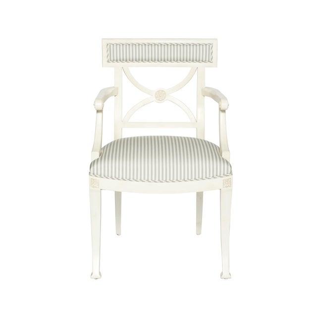White Schumacher Westminster Brigitte Stripe Grey Hand-Carved Beechwood Frame Armchair For Sale - Image 8 of 9