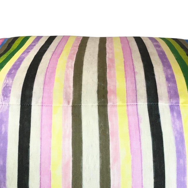 Belgian Contemporary Striped Pouf For Sale - Image 3 of 3