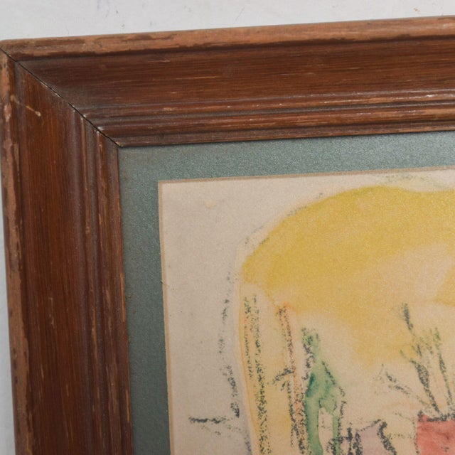 Watercolor Modern Mid Century Vintage Still Life Drawing Yellow Purple Lithograph For Sale - Image 7 of 9