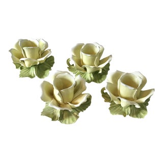 Hand Painted Vintage Artisan Yellow Rose Flower Porcelain Candleholders - Set of 4 For Sale