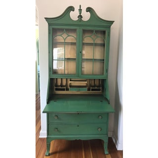 Vintage Green Secretary Cabinet With Original Paint Preview