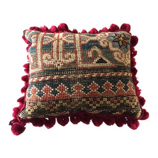 "19th C Caucasian Fragment Lumbar Pillow 10"" W"