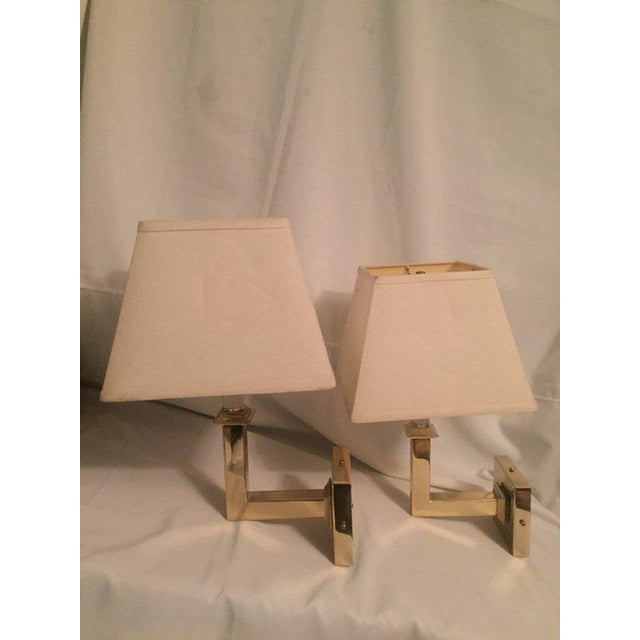 Vintage Modern Square Arm Wall Lamps Heavy Brass in the Style of Karl Springer - a Pair For Sale - Image 6 of 12