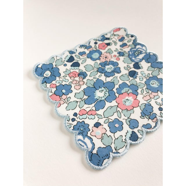Traditional Liberty of London Scalloped Cocktail Napkins Betsy Blue with Baby Blue Trim - Set of 4 For Sale - Image 3 of 5