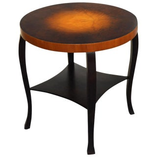 Swedish Art Deco Dark Flame Birch and Golden Elm Side Table With Shelf For Sale
