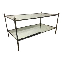 Maison Bagues Big 2 Tier Silvered Bronze Coffee Table For Sale